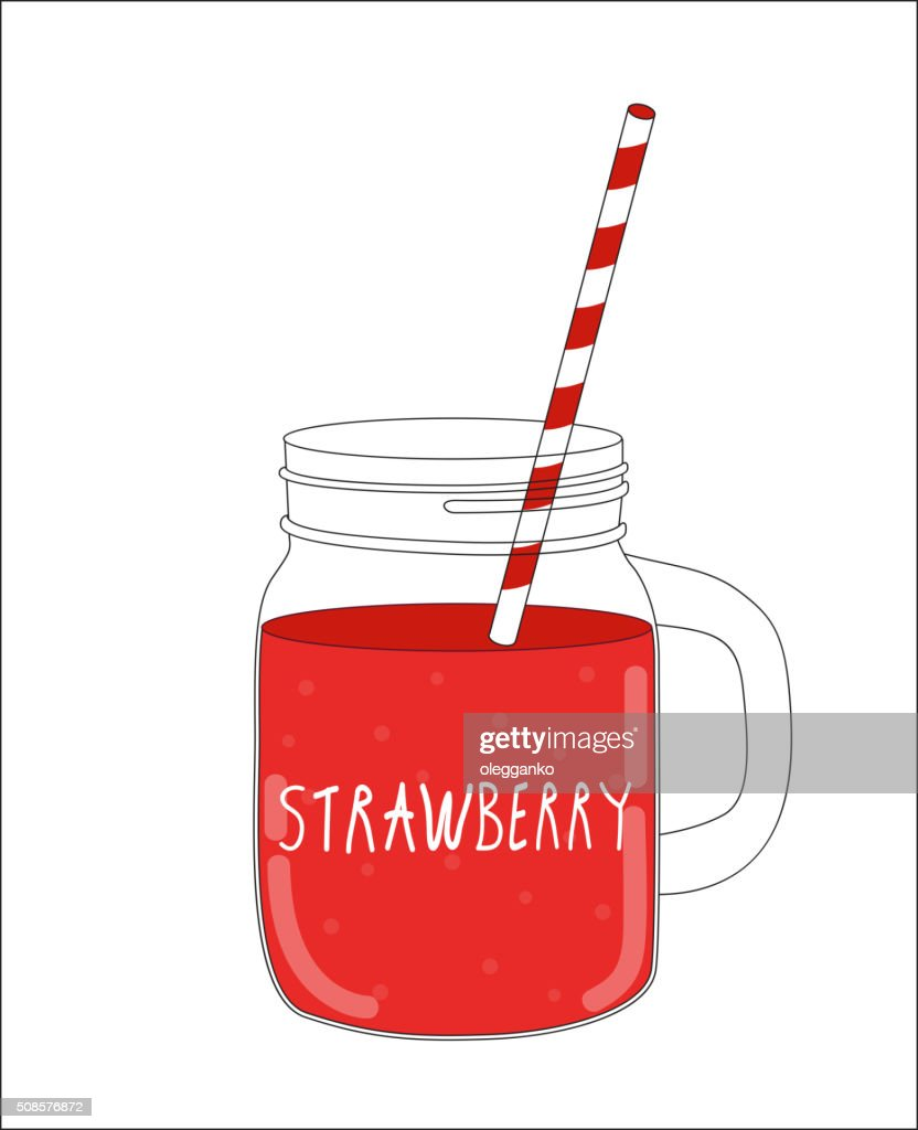 Fresh Strawberry Smoothie. Healthy Food. Vector Illustration : Vector Art