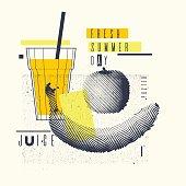 Fresh summer day. Stylish poster, trendy graphics