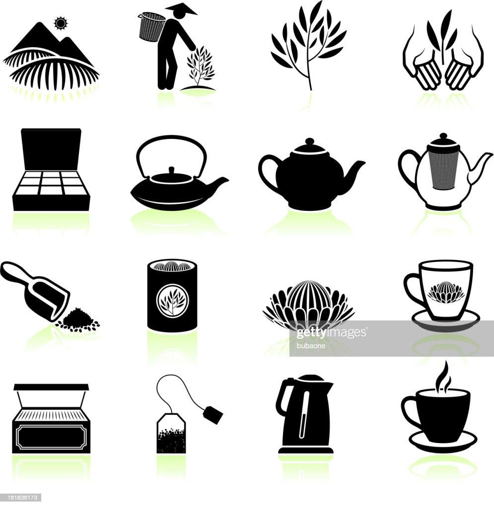 Fresh Tea black & white royalty free vector icon set