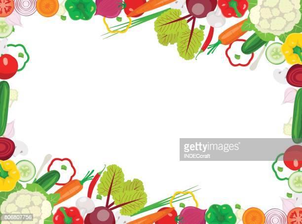 fresh vegetable frame - cauliflower stock illustrations, clip art, cartoons, & icons