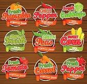 Fresh vegetable labels.