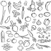 Fresh vegetables and condiments sketch icon