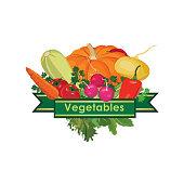 Fresh vegetables design concept icon.