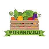 Fresh vegetables in a box. Vegetable garden. Organic and healthy food. Banner with vegetable. Flat style, vector illustration.