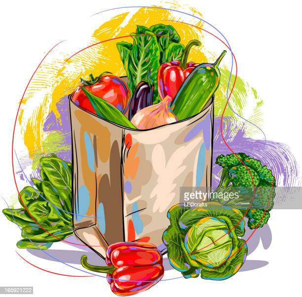 fresh vegetables in paper bag - healthy eating stock illustrations