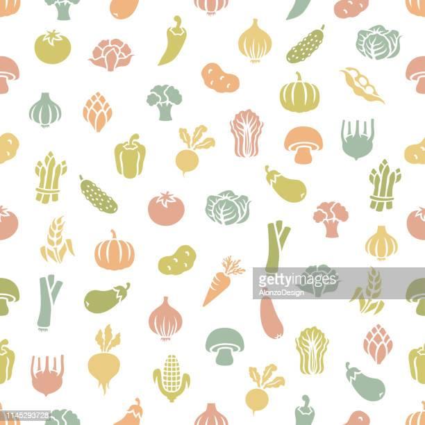 fresh vegetables. seamless pattern - vegetable stock illustrations
