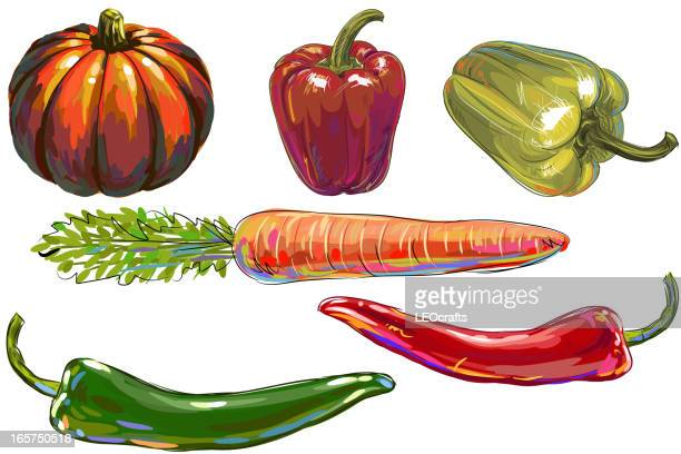 fresh vegetables - pepper vegetable stock illustrations