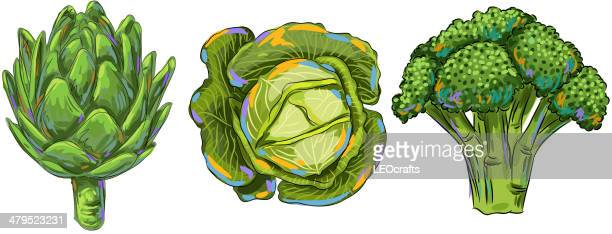 fresh vegetables - broccoli stock illustrations, clip art, cartoons, & icons