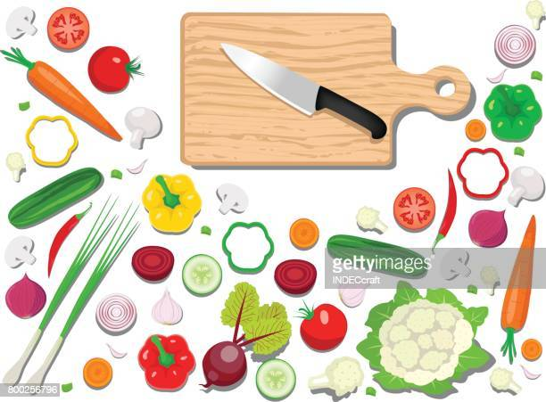 fresh vegetables with cutting board - cauliflower stock illustrations, clip art, cartoons, & icons