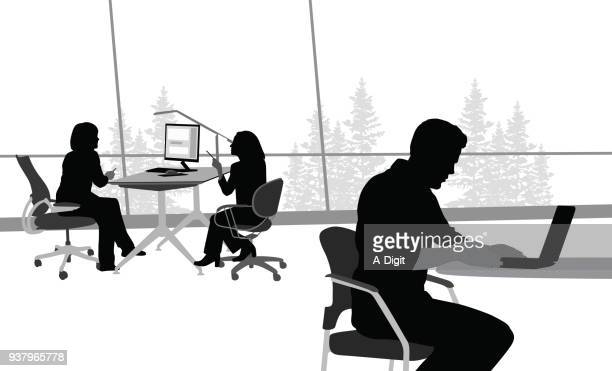 fresh workspace - using laptop stock illustrations