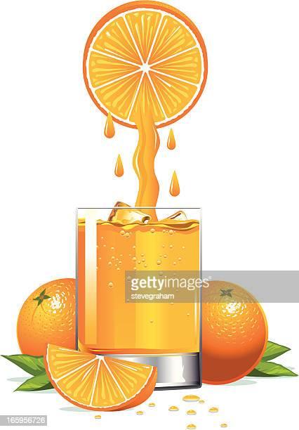 freshly squeezed orange juice - orange juice stock illustrations, clip art, cartoons, & icons
