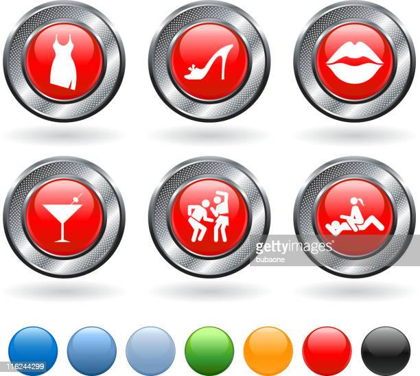 friday night vector icon set on buttons with metallic border - stag night stock illustrations, clip art, cartoons, & icons