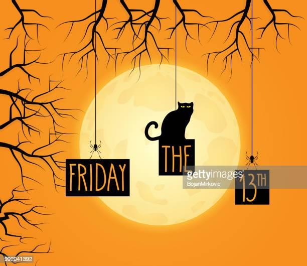 illustrations, cliparts, dessins animés et icônes de vendredi 13 fond avec chat noir. pleine lune en arrière-plan. ecriture de la main. illustration vectorielle. - chat noir