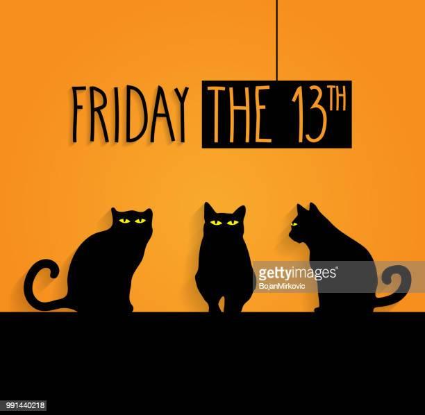 illustrations, cliparts, dessins animés et icônes de vendredi 13 fond avec des chats noirs et texte manuscrit. illustration vectorielle - chat noir