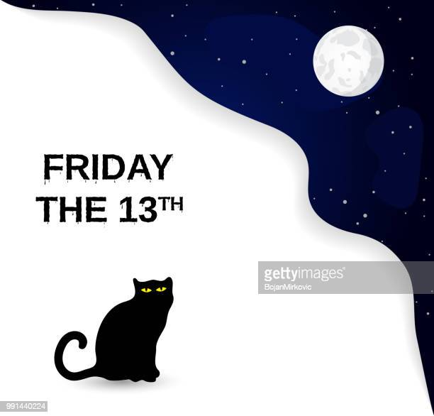 friday the 13th poster with black cat and full moon. vector illustration. - bad luck stock illustrations, clip art, cartoons, & icons