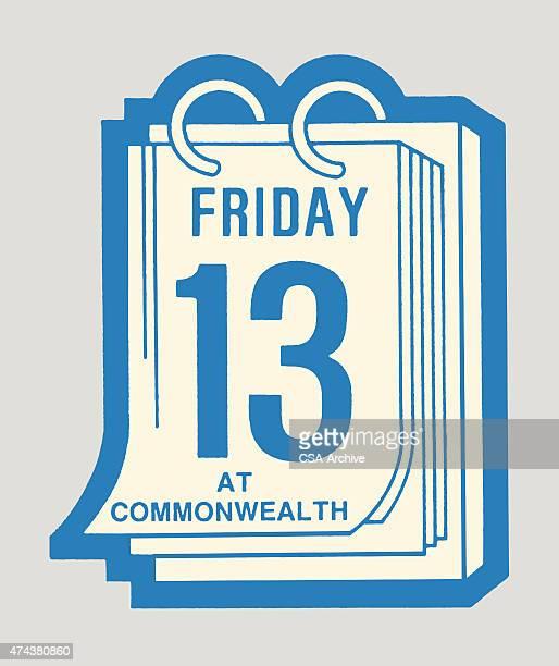 friday the thirteenth calendar - friday stock illustrations, clip art, cartoons, & icons