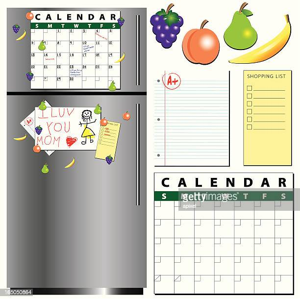 fridge and accessories - magnet stock illustrations, clip art, cartoons, & icons