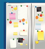 Fridge door with magnets and notepaper