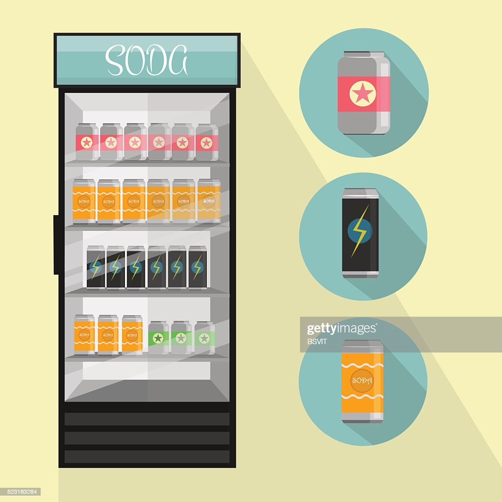 Fridge Drink with drinks in cans - Vector Illustration isolated