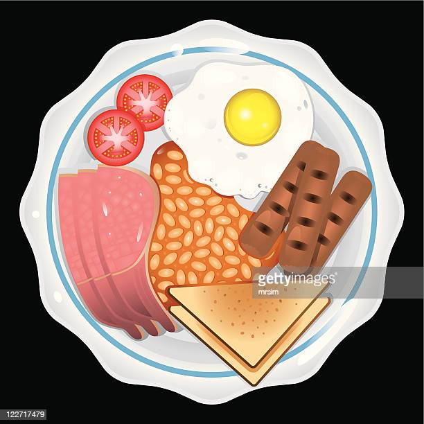 fried breakfast, eggs & bacon - baked beans stock illustrations, clip art, cartoons, & icons