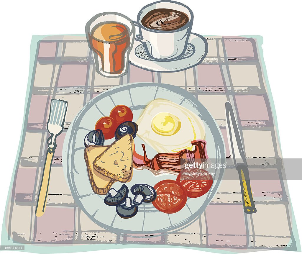 Fried Breakfast on Table  Cloth with Coffee and Orange Juice