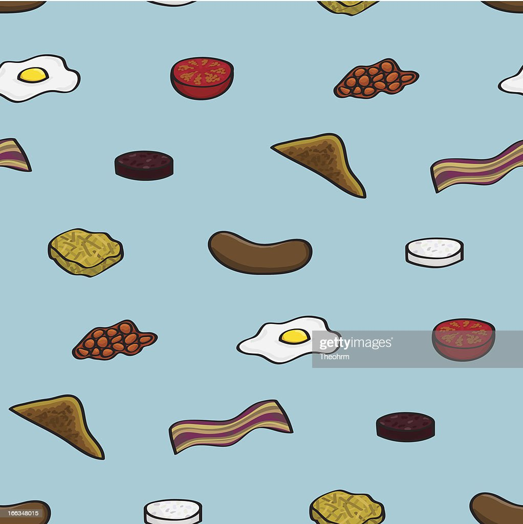 Fried Breakfast Seamless Background