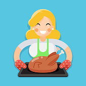 Fried chicken turkey housewife with baking character flat design vector