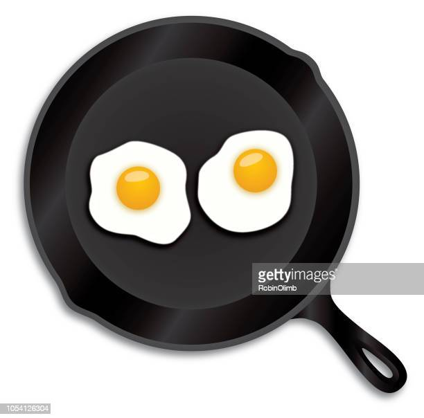 fried eggs iron skillet - frying pan stock illustrations