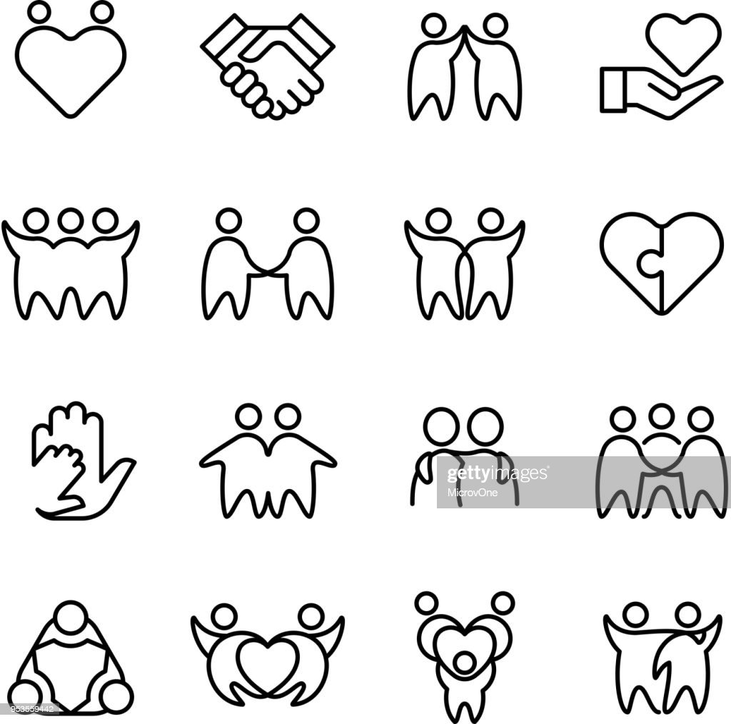 Friend, buddy and gay line icons. Friendship, harmony and friendly outline symbols isolated