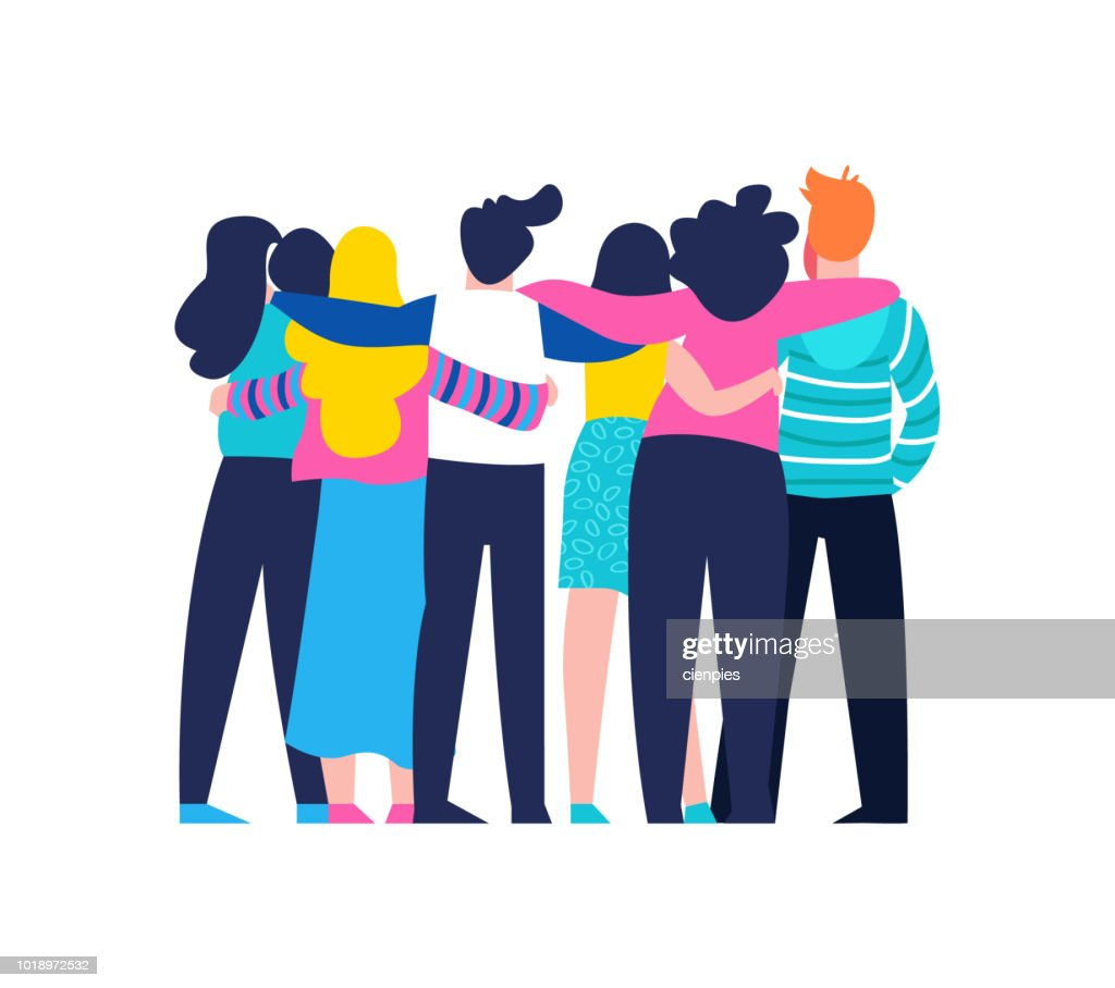 Friend group hug of diverse people isolated