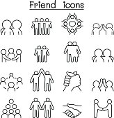 Friend & Harmony icon set in thin line style