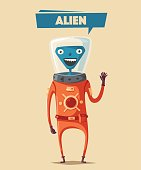Friendly alien. Cartoon vector illustration