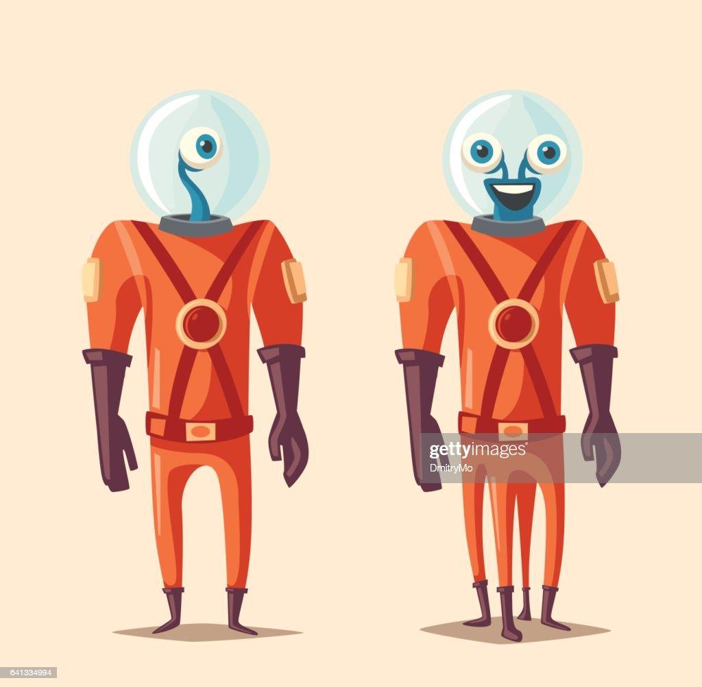 Friendly alien. Cartoon vector illustration
