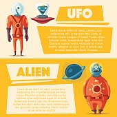 Friendly aliens. Cartoon vector illustration