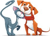 Friendly cartoon cat and dog on a white backdrop