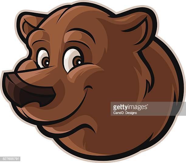 ilustraciones, imágenes clip art, dibujos animados e iconos de stock de cordial grizzly bear - oso pardo