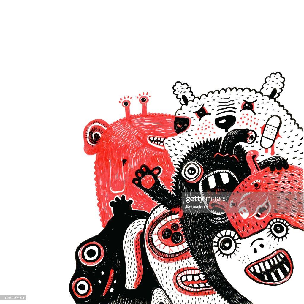 Amigável grupo de monstros : Ilustração