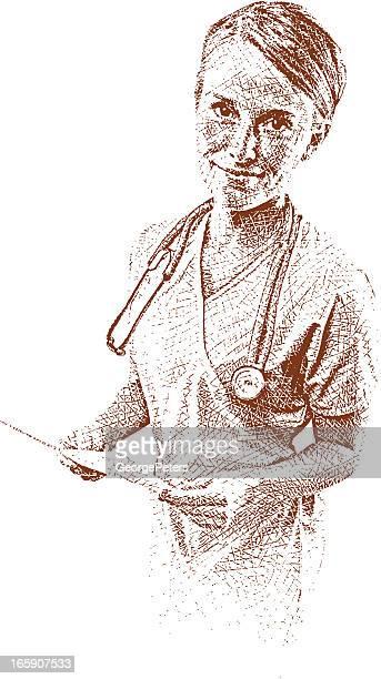 ilustraciones, imágenes clip art, dibujos animados e iconos de stock de el personal de enfermería - enfermera