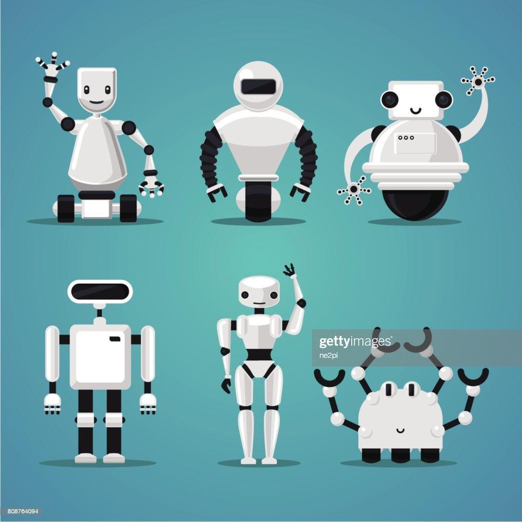 Friendly robots collection. Futuristic design. Electronic toys set.