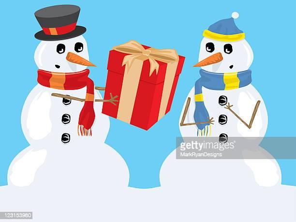ilustrações, clipart, desenhos animados e ícones de snowmen amigável - vegetais