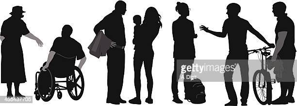 friendly talk vector silhouette - family cycling stock illustrations, clip art, cartoons, & icons