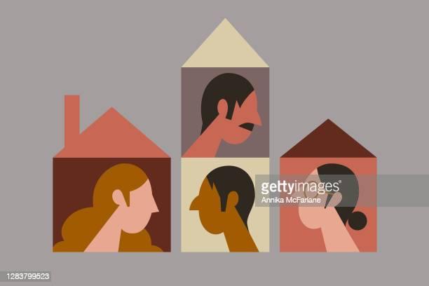 illustrations, cliparts, dessins animés et icônes de amis et voisins s'entre-t-ils dans des maisons séparées - génération du millénaire