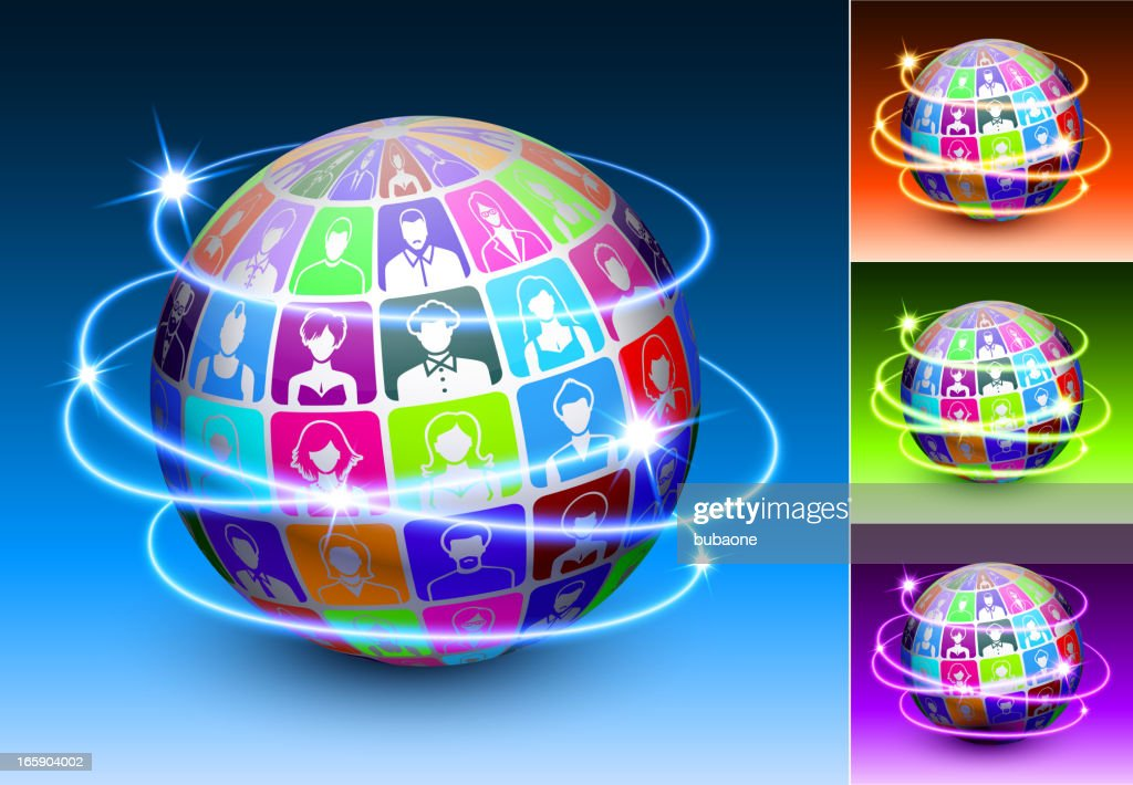 Friends and social connections globe