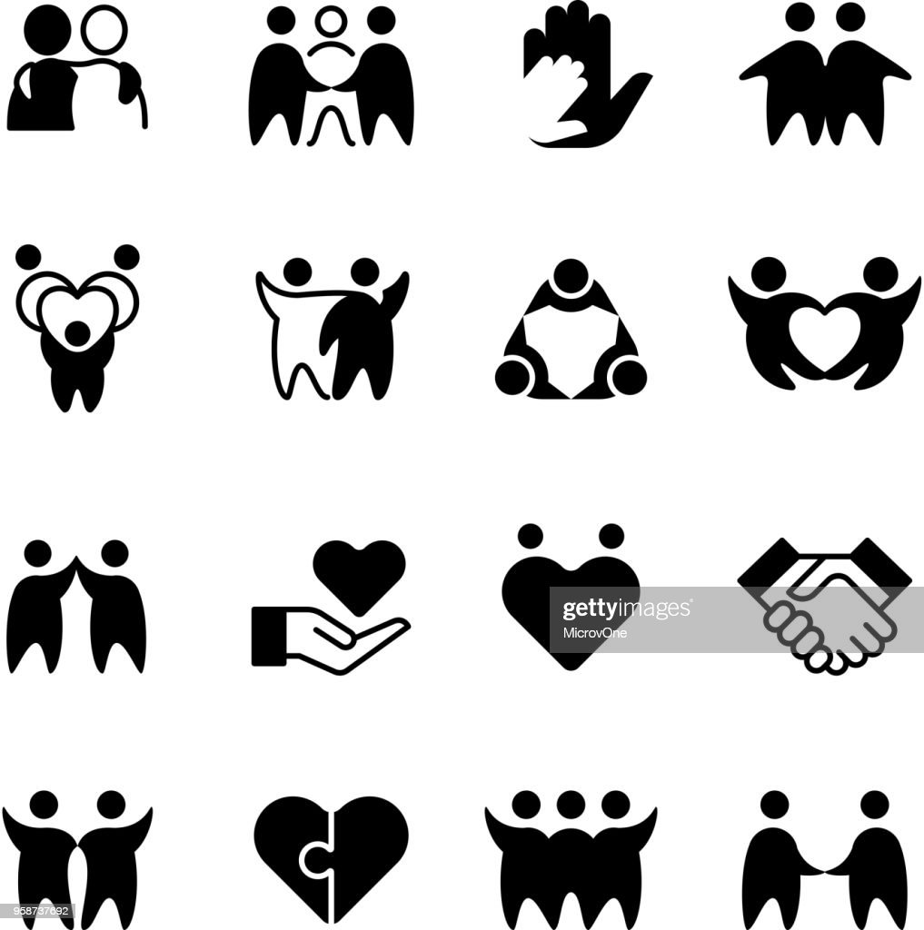 Friends, buddies, man hug line icons. Friendship, harmony and friendly group outline symbols isolated