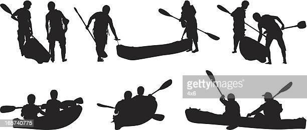 Friends canoeing