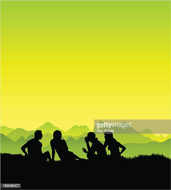 friends chatting on the grass - group of animals stock illustrations, clip art, cartoons, & icons