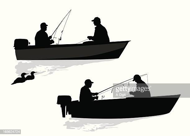 Friends Fishing Together  Vector Silhouette