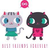 Friends forever cute grey cat and black cat