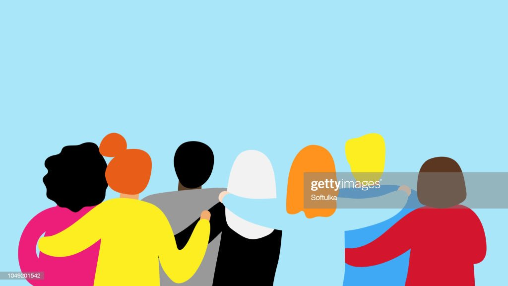 Friends forever. Friendly group of people stand and hugging together : Stock Illustration