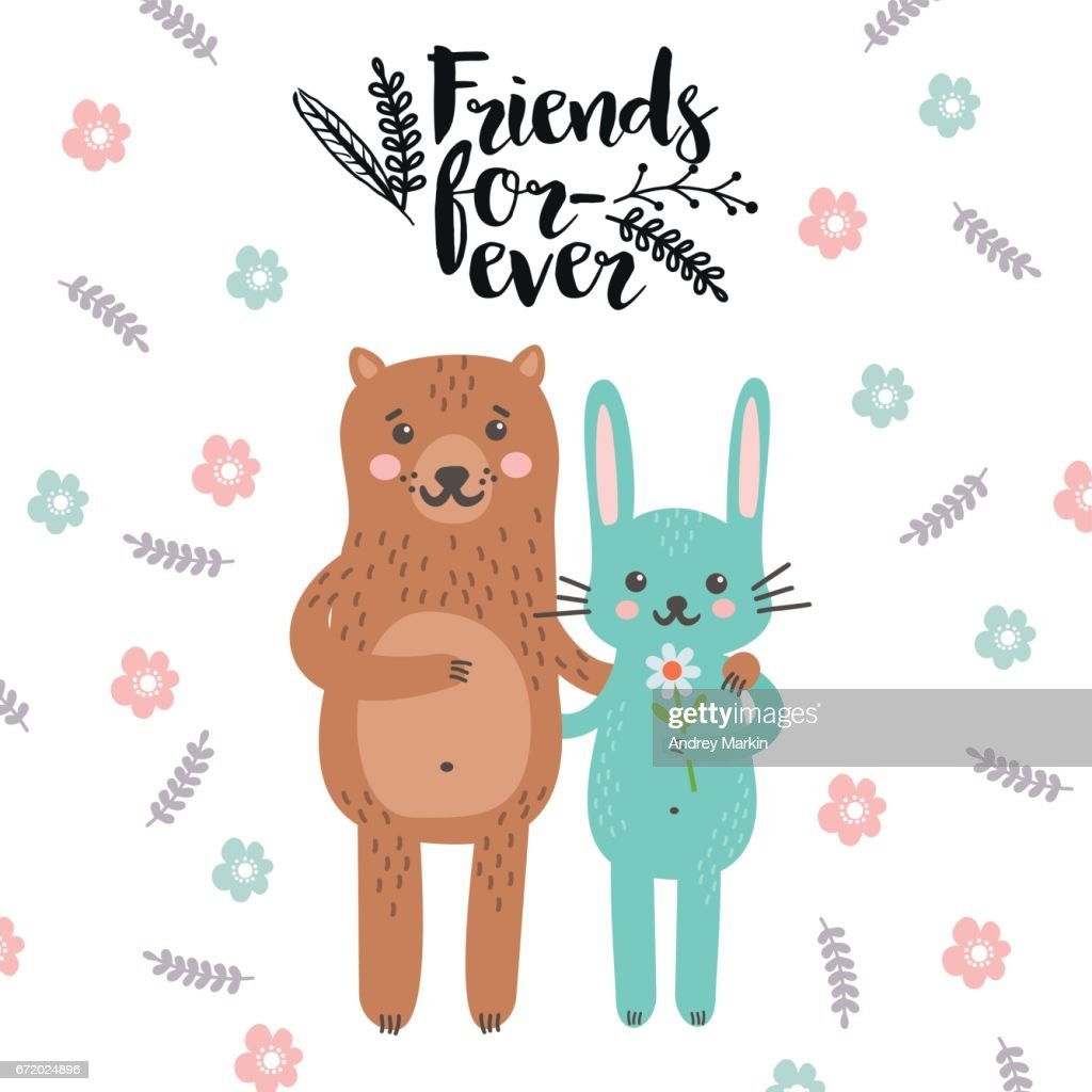 Friends Forever Greeting Card With Typography Vector Art Getty Images